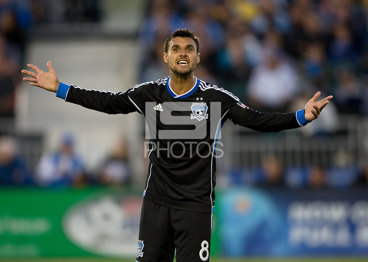 Chris Wondolowski of Earthquakes argues with the side referee about a bad call during the game against Rapids at Buck Shaw Stadium in Santa Clara, California on May 18th, 2013.  San Jose Earthquakes tied Colorado Rapids, 1-1.