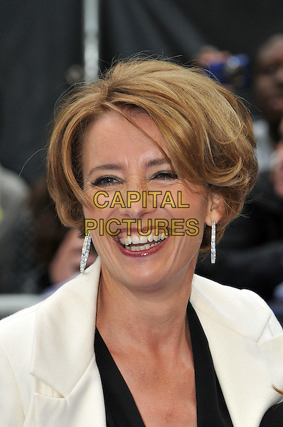 Emma Thompson.The 'Men in Black 3' UK film premiere, Odeon Leicester Square cinema, Leicester Square, London, England..May 16th, 2012.MIB3 III headshot portrait black white smiling dangling earrings .CAP/BF.©Bob Fidgeon/Capital Pictures.