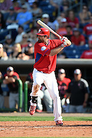 Philadelphia Phillies outfielder Jordan Danks (15) during an exhibition game against the University of Tampa on March 1, 2015 at Bright House Field in Clearwater, Florida.  University of Tampa defeated Philadelphia 6-2.  (Mike Janes/Four Seam Images)