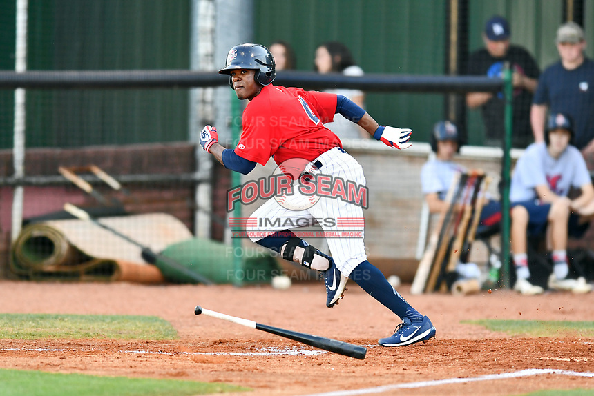 Elizabethton Twins right fielder T.J. Dixon (41) runs to first base during a game against the Pulaski Yankees at Joe O'Brien Field on June 27, 2016 in Elizabethton, Tennessee. The Yankees defeated the Twins 6-4. (Tony Farlow/Four Seam Images)