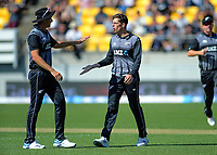 Tim Southee congratulates Mitchell Santner for dismissing Eoin Morgan. Twenty20 International cricket match between NZ Black Caps and England at Westpac Stadium in Wellington, New Zealand on Sunday, 3 November 2019. Photo: Dave Lintott / lintottphoto.co.nz