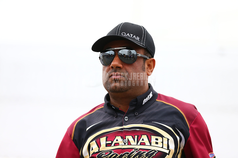 Sept. 2, 2013; Clermont, IN, USA: NHRA top fuel dragster driver Khalid Albalooshi during the US Nationals at Lucas Oil Raceway. Mandatory Credit: Mark J. Rebilas-