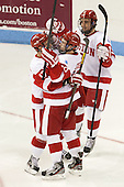 Evan Rodrigues (BU - 17), Danny O'Regan (BU - 10), Matt Nieto (BU - 19) - The Boston University Terriers defeated the visiting Northeastern University Huskies 5-0 on senior night Saturday, March 9, 2013, at Agganis Arena in Boston, Massachusetts.