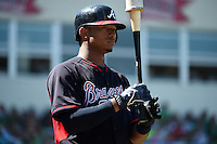 Atlanta Braves catcher Christian Bethancourt (27) during a Spring Training game against the Boston Red Sox on March 17, 2015 at JetBlue Park at Fenway South in Fort Myers, Florida.  Atlanta defeated Boston 11-3.  (Mike Janes/Four Seam Images)