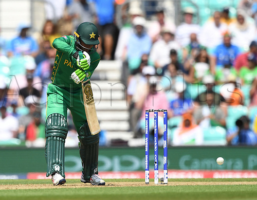 June 18th 2017, The Kia Oval, London, England;  ICC Champions Trophy Cricket Final; India versus Pakistan; Fakhar Zaman of Pakistan cuts the ball for 4