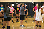 August 14, 2017- Tuscola, IL- Warrior coach Lydia Miller speaks to her players during preseason practice at TCHS. Photo: Douglas Cottle]