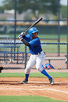 GCL Blue Jays second baseman Jose Theran (18) at bat during the first game of a doubleheader against the GCL Yankees East on July 24, 2017 at the Yankees Minor League Complex in Tampa, Florida.  GCL Blue Jays defeated the GCL Yankees East 6-3 in a game that originally started on July 8th.  (Mike Janes/Four Seam Images)