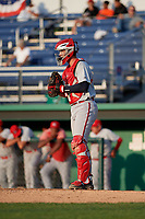 Auburn Doubledays catcher Andrew Pratt (33) during a NY-Penn League game against the Batavia Muckdogs on June 19, 2019 at Dwyer Stadium in Batavia, New York.  Auburn defeated Batavia 5-0 in the second game of a doubleheader.  (Mike Janes/Four Seam Images)