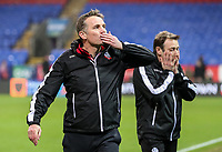 Bolton Wanderers' first team coach Julian Darby can't look as manager Phil Parkinson salutes the crowd after victory<br /> <br /> Photographer Andrew Kearns/CameraSport<br /> <br /> The EFL Sky Bet Championship - Bolton Wanderers v Rotherham United - Wednesday 26th December 2018 - University of Bolton Stadium - Bolton<br /> <br /> World Copyright &copy; 2018 CameraSport. All rights reserved. 43 Linden Ave. Countesthorpe. Leicester. England. LE8 5PG - Tel: +44 (0) 116 277 4147 - admin@camerasport.com - www.camerasport.com