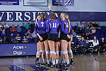 The High Point Panthers huddle up during their match against the Liberty Flames at the Millis Athletic Center on September 23, 2016 in High Point, North Carolina.  The Panthers defeated the Flames 3-1.   (Brian Westerholt/Sports On Film)