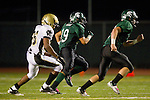 Torrance, CA 10/06/11 - Brandon Loera (South Torrance #19) and James Nelson (Peninsula #26) in action during the Peninsula vs South Varsity football game.