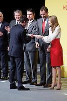 Formula One driver Fernando Alonso shakes hands with Spain's crown Prince Felipe and Princess Letizia during a ceremony to designate Spain Brand ambassadors. February 12, 2013. (ALTERPHOTOS/Alvaro Hernandez) /NortePhoto