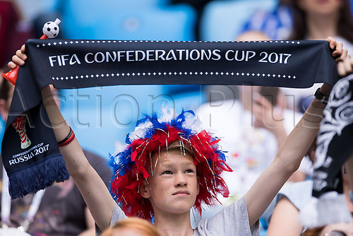 17th June 2017, St Petersburg, Russia; FIFA 2017 Confederations Cup football, Russia versus New Zealand; Group A - Saint Petersburg Stadium,  A Russian fan holds up a scarf before the Confederations Cup Group A soccer match between Russia and New Zealand at the stadium in Saint Petersburg, Russia, 17 June 2017.