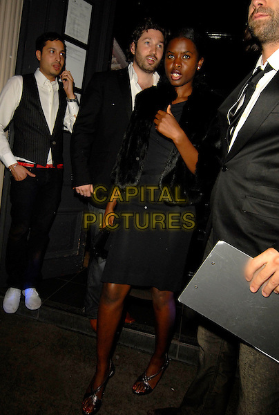 JUNE SARPONG.Movida's 2nd birthday party at the Movida Club, London, England..June 13th, 2007.full length black dress fur jacket wrap.CAP/SW.©Stephen Walters/Capital Pictures