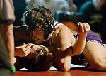 Spanish Springs Rito Hernandez, top, defeated North Valley's Mickey Castonguay in the 132 pound weight class during the Division 1 NIAA Region Wrestling  Championship on Saturday afternoon, February 2, 2013 at Reno High School.