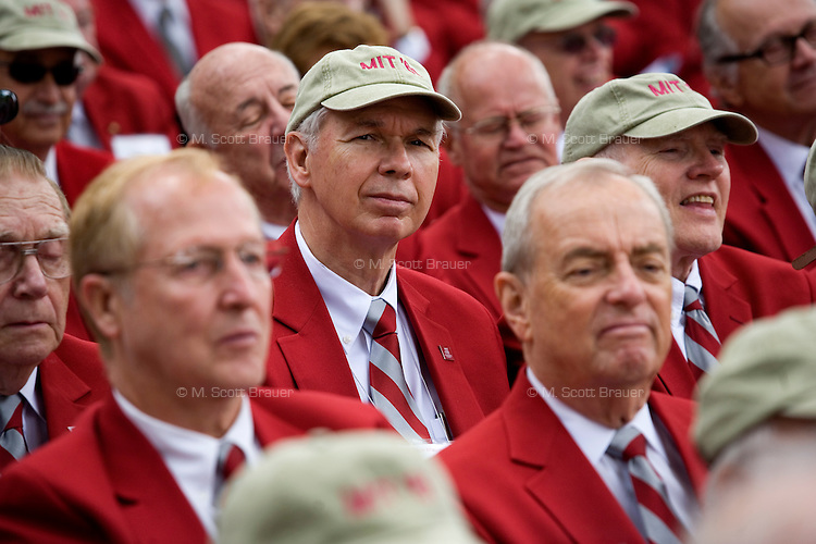 3 June 2011, Cambridge, MA - MIT Commencement...MIT alumni watch the 2011 commencement ceremony wearing red coats. Red coats are awarded to alumni who've reached the 50th anniversary of their graduation. ..Photo by M. Scott Brauer for MIT News
