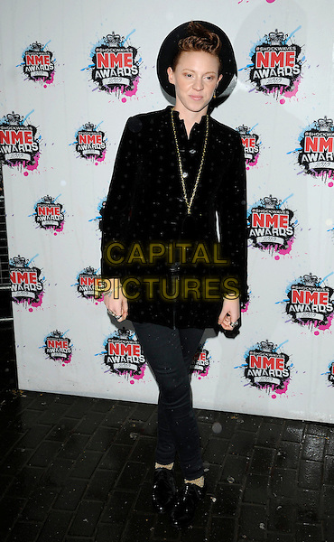LA ROUX (Eleanor Jackson).The Shockwaves NME Awards 2010 held at Brixton Academy, London, England. .February 24th, 2010.full length black hat jacket polka dot necklace gold jeans denim.CAP/CAN.©Can Nguyen/Capital Pictures.