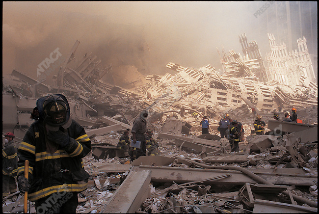 Ground zero after terrorist attack and destruction of the World Trade Center, New York City, New York, USA, September 11, 2001