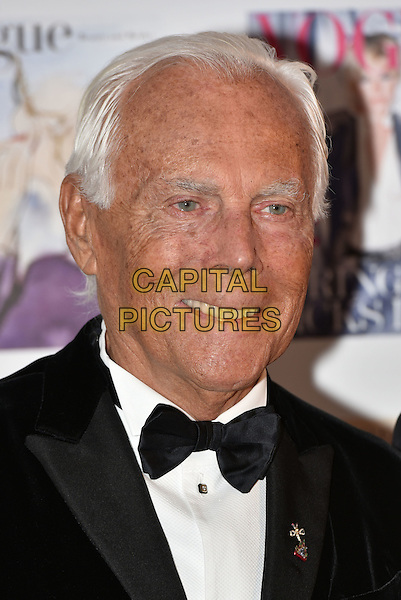 Giorgio Armani at the Vogue100 anniversary gala dinner, British Vogue's centenary anniversary party, The East Albert Lawn in Kensington Gardens, Hyde Park, London, England, UK, on Monday 23 May 2016.<br /> CAP/PL<br /> &copy;PL/Capital Pictures