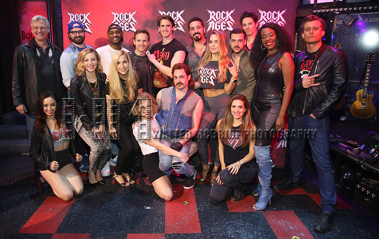 "Tom Galantich, Ashley E. Matthews, Justin Colombo, Kirsten Scott, Mekhai Lee, Tiffany Engen, Dane Biren, Leah Read, CJ Eldred, Mitchell Jarvis, Matt Ban, Katie Webber, Autumn Guzzardi, Kevin Michael Raponey, Michael Mahany, Jeannette Bayardelle and PG Griffith during the tech rehearsal for ""Rock of Ages"" 10th Anniversary Production on June 13, 2019 at the New World Stages in New York City."