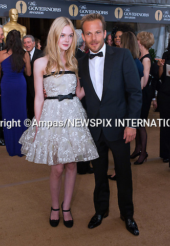 "ELLE FANNING AND STEPHEN DORFF.2010 Governors Awards,Grand Ballroom at Hollywood & Highland,Hollywood, Los Angeles_14/11/2010.Mandatory Photo Credit: ©Petit/Newspix International..**ALL FEES PAYABLE TO: ""NEWSPIX INTERNATIONAL""**..PHOTO CREDIT MANDATORY!!: NEWSPIX INTERNATIONAL(Failure to credit will incur a surcharge of 100% of reproduction fees)..IMMEDIATE CONFIRMATION OF USAGE REQUIRED:.Newspix International, 31 Chinnery Hill, Bishop's Stortford, ENGLAND CM23 3PS.Tel:+441279 324672  ; Fax: +441279656877.Mobile:  0777568 1153.e-mail: info@newspixinternational.co.uk"