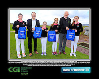Enniscrone Girls with PJ Kavanagh from Bank of Ireland and Justin O'Byrne from CGI.<br /> Junior golfers from across connacht practicing their skills at the regional finals of the Dubai Duty Free Irish Open Skills Challenge supported by Bank of Ireland at Galway Bay golf club, Galway, Co Galway. 2/04/2016.<br /> Picture: Golffile | Fran Caffrey<br /> <br /> <br /> All photo usage must carry mandatory copyright credit (© Golffile | Fran Caffrey)