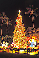 Twilight view of Christmas tree at Honolulu Hale