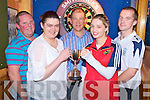 Sean Murphy, Murphys Bar, Killarney, pictured with Kevin McCann, Catherine Lucey, Tanya and Damien McCormack, finalists in the Murphys Bar Mixed Double darts final in Murphys Bar on Tuesday night.