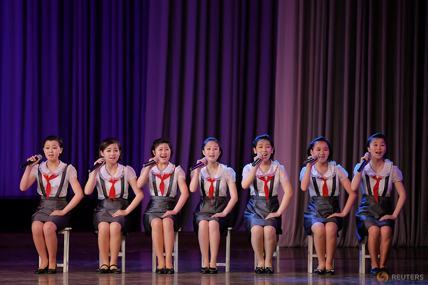 Girls perform on the stage of the Mangyongdae Children's Palace in central Pyongyang, North Korea May 5, 2016.  REUTERS/Damir Sagolj