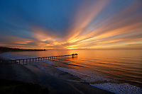 November 30, 2017 - San Diego, California, USA-  The suns sets over the Pacific Ocean at the Scripps Institute of Oceanography Pier in the La Jolla area of San Diego, California on Thursday, Nov. 30, 2017.   (Photo Credit: © K.C. ALFRED/ZUMA PRESS)