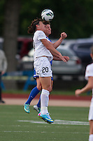 In a National Women's Soccer League Elite (NWSL) match, the Boston Breakers defeated the Western New York Flash  2-1, at Dilboy Stadium on May 5, 2013.  Western New York Flash forward Abby Wambach (20) and Boston Breakers midfielder Jo Dragotta (25) compete for a head ball.