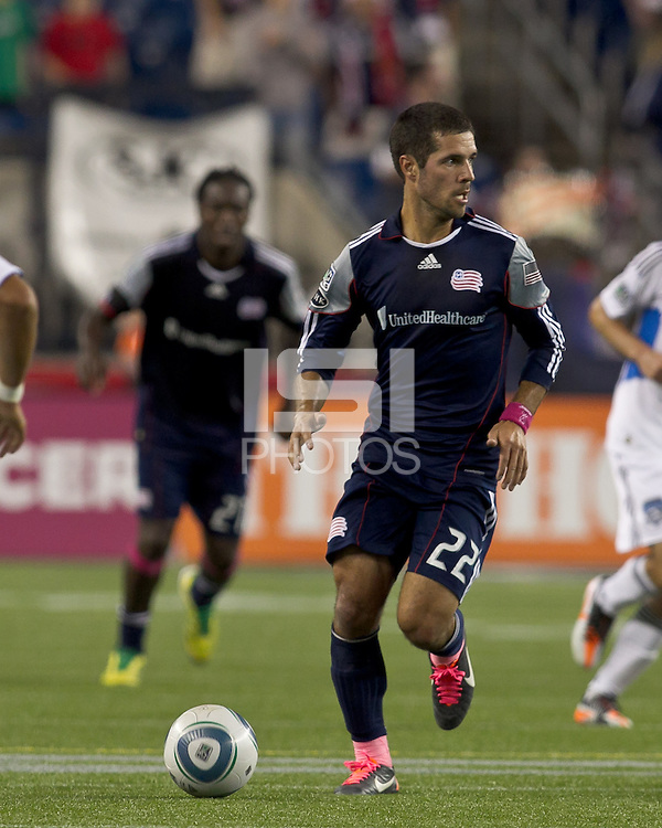 New England Revolution midfielder Benny Feilhaber (22) looks to pass. In a Major League Soccer (MLS) match, the San Jose Earthquakes defeated the New England Revolution, 2-1, at Gillette Stadium on October 8, 2011.