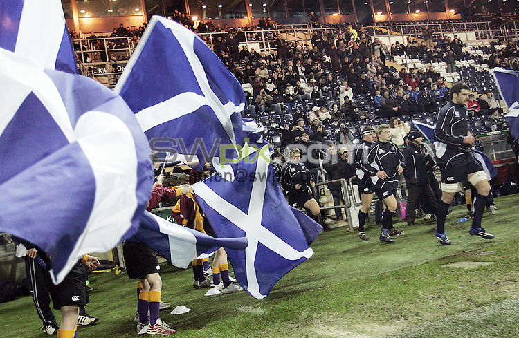 PICTURE BY VAUGHN RIDLEY/SWPIX.COM - Rugby Union - U20 Six Nations - Scotland v France - Falkirk, Scotland - 01/02/08...Copyright - Simon Wilkinson - 07811267706..Scotland's Frazer McKenzie and teammates run out to a guard of honour.