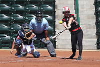 Rutgers infielder Jackie Bates #14 bats in front of Netherlands catcher Nathalie Timmermans #26 and umpire Al Staniford during a game against Rutgers at the USF Bulls Softball Complex on March 14, 2012 in Tampa, Florida.  (Mike Janes/Four Seam Images)