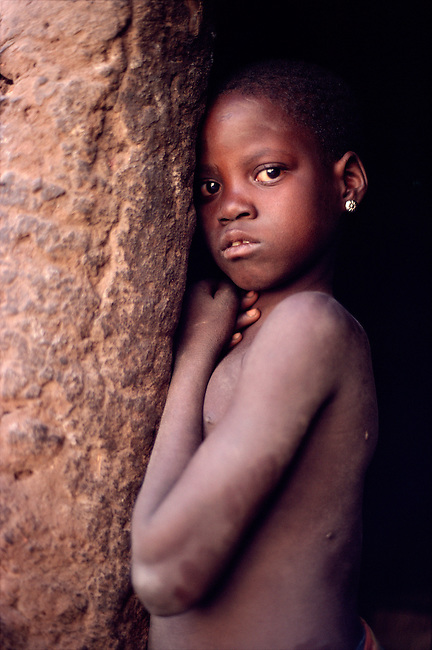 Portrait of a young Dogon girl. Mali, West Africa.