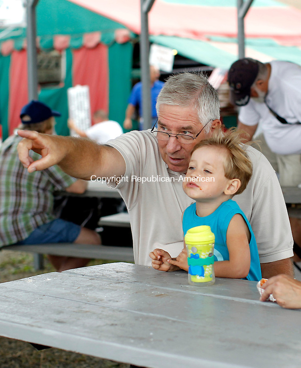 Bethlehem, CT-08 September 2012-090812CM01-  Michael Bogis of Naugatuck, points out a tractor to his grandson, Ben Kielbowicz, 3, during the second day of the Bethlehem Fair Saturday morning in Bethlehem.  The fair continues today, with gates opening at 7:30am and closing at 5:30pm.   For more information, including any schedule changes due to the weather, log onto http://www.bethlehemfair.com.    Christopher Massa Republican-American