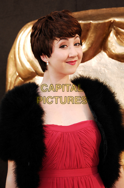 Rosamund Hanson.Arrivals at the Arqiva British Academy Television Awards held at the Royal Festival Hall, London, England..May 27th, 2012.BAFTA BAFTAS half length black fur pink red dress.CAP/WIZ.© Wizard/Capital Pictures.