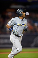Trenton Thunder Wendell Rijo (7) runs to first base during an Eastern League game against the Reading Fightin Phils on August 16, 2019 at FirstEnergy Stadium in Reading, Pennsylvania.  Trenton defeated Reading 7-5.  (Mike Janes/Four Seam Images)