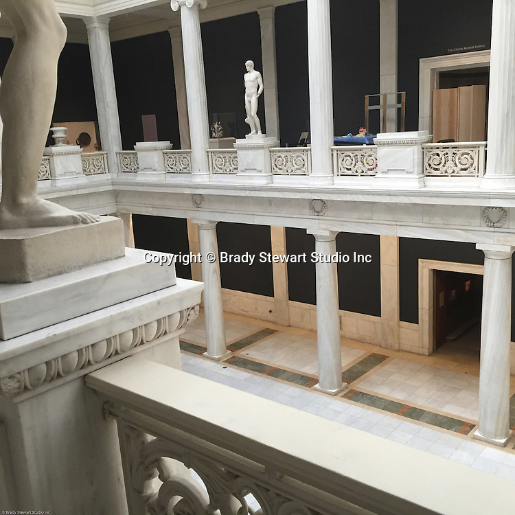 Pittsburgh PA:  View of the Hall of Sculpture inside the Carnegie Museum of Art - 2015.  This view if right outside the door to the Imaging of the Modern inside the HACLab at the Carnegie Museum of Art. <br />