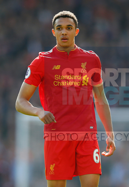 Trent Alexander-Arnold of Liverpool during the English Premier League match at Anfield Stadium, Liverpool. Picture date: April 1st 2017. Pic credit should read: Simon Bellis/Sportimage