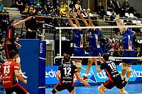 GRONINGEN - Volleybal, Lycurgus - ZVH , Eredivisie, seizoen 2019-2020, 26-10-2019,   met Lycurgus blok met Lycurgus speler Hossein Ghanbari