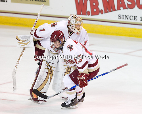 John Muse (BC - 1), Cam Atkinson (BC - 13) - The Boston College Eagles defeated the visiting Merrimack College Warriors 3-2 on Friday, October 29, 2010, at Conte Forum in Chestnut Hill, Massachusetts.