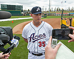 Infielder Kevin Cron (35) talks with the local media during the Reno Aces 2019 Media Day at Greater Nevada Field in downtown Reno, Nevada on Monday, April 1, 2019.