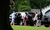United States President Barack Obama and daughter Maila  get into the presidential limousine to go on a hike at Great Falls Park in Virginia.<br /> Credit: Dennis Brack / Pool via CNP