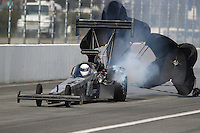 Feb 11, 2017; Pomona, CA, USA; NHRA top fuel driver Shawn Reed during qualifying for the Winternationals at Auto Club Raceway at Pomona. Mandatory Credit: Mark J. Rebilas-USA TODAY Sports