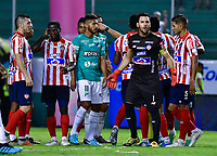 PALMIRA - COLOMBIA, 28-01-2020: Sebastian Viera arquero del Junior en acción durante el partido entre Deportivo Cali y Atlético Junior por la fecha 2 de la Liga BetPlay DIMAYOR I 2020 jugado en el estadio Deportivo Cali de la ciudad de Palmira. / Sebastian Viera goalkeeper of Junior in action during match between Deportivo Cali and Atletico Junior for the date 4, quadrangulars semifinals, of the Aguila League II 2019 played at Deportivo Cali stadium in Palmira city. Photo: VizzorImage / Nelson Rios / Cont