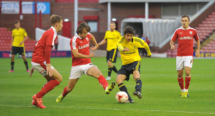Middlesbrough's Diego Fabbrini fires in a shot <br /> <br /> Photographer Dave Howarth/CameraSport<br /> <br /> Football - Football Friendly - Barnsley v Middlesbrough - Wednesday 29th July 2015 - Oakwell - Barnsley<br /> <br /> &copy; CameraSport - 43 Linden Ave. Countesthorpe. Leicester. England. LE8 5PG - Tel: +44 (0) 116 277 4147 - admin@camerasport.com - www.camerasport.com