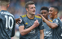 Leicester City's Jamie Vardy acknowledges the fans after scoring from the penalty spot <br /> <br /> Photographer Stephen White/CameraSport<br /> <br /> The Premier League - Huddersfield Town v Leicester City - Saturday 6th April 2019 - John Smith's Stadium - Huddersfield<br /> <br /> World Copyright © 2019 CameraSport. All rights reserved. 43 Linden Ave. Countesthorpe. Leicester. England. LE8 5PG - Tel: +44 (0) 116 277 4147 - admin@camerasport.com - www.camerasport.com