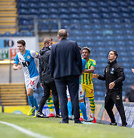 11th July 2020; Ewood Park, Blackburn, Lancashire, England; English Football League Championship Football, Blackburn Rovers versus West Bromwich Albion; Darragh Lenihan of Blackburn Rovers is yellow carded on the sideline after a foul on Semi Ajayi of West Bromwich Albion