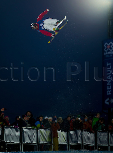 28.02.2016. Wyller Oslo Winter Park, Oslo, Norway. Red Bull X Games. Men's Ski SuperPipe Final.  Kevin Rolland of France soars high above the crowd during the Red Bull X Games Oslo 2016 at the Wyller Oslo winter park in Oslo, Norway.